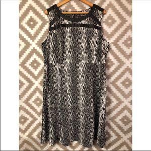 Lane Bryant Black Leopard Sleeveless A Line Dress